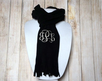 BLACK PERSONALIZED SCARF - Ladies Scarf - Winter Scarf - Black Fleece Scarf - Monogrammed Scarves - Teacher Gift - Christmas Gift - Scarves