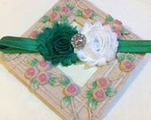 Christmas Headband, Green and White Shabby Chic Flowers on an Green Headband with Rhinestone/Pearl Embellishment, Infant to Adult