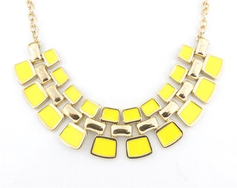 Beautiful Gold-tone Yellow Multiple Rectangle Plate Funky Statement Necklace,B7