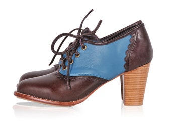 DANTELLA. Leather oxford booties / leather booties / oxford booties / oxford heels. Sizes US 4-13. Available in different leather colors.