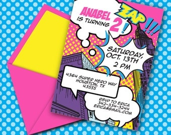 INSTANT DOWNLOAD, Superhero Girl Printable 5 x 7 Invitation Pink, You Edit Yourself in Adobe Reader