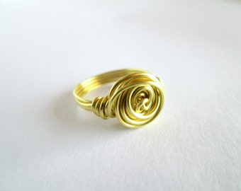 Brass Wire Ring, Wire Ring, Wire Wrapped Ring, Handmade Ring, Wrap Around Ring, Gift For Her, Birthday Gift for Her,  Gift for Her