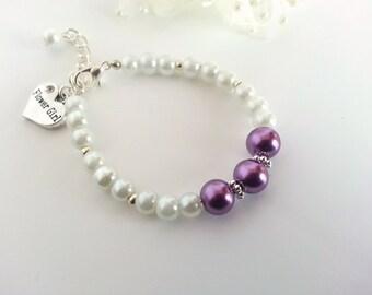 Pearl Flower Girl Bracelet, Children's Pearl Bracelet, Flower Girl Wedding Jewelry, Flower Girl Bracelet Gift, Flower Girl Gift