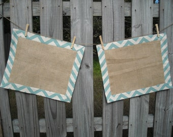 Tailored Burlap and Blue Place Mats- set of 2