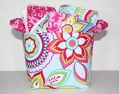 Baby girl gift basket.  Burp cloth set, Wash cloth set, bib and  fabric storage bucket.