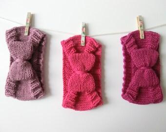 Knit Bow Headband Earwarmer- Rose Pink/Hot Pink/Fuchsia