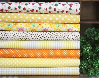 8 pieces Yellow Group Series Color collection Cotton Cloth Quilt Fabric-DIY Handmade Fabric Cloth