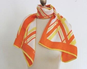 1970s SILK scarf LONG vivid geometric HAND rlolled