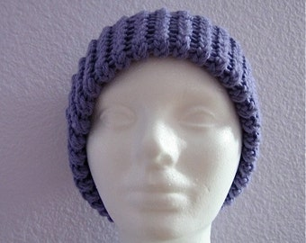 Lavender Knitted Hat with Chunky Double Brim Purple Ribbed Beanie