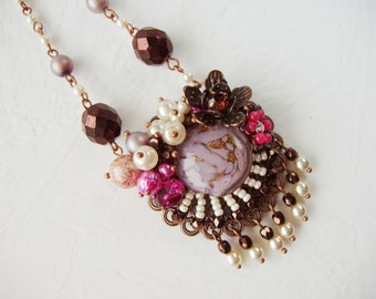Romantic Violet Necklace. Crystal Necklace Pendant. Assemblage Jewelry. Floral Assemblage Necklace. Romantic Jewelry in Haskell Style