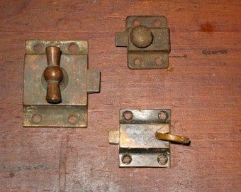 Cast Bronze Victorian Early Thumb Latches Original Finish