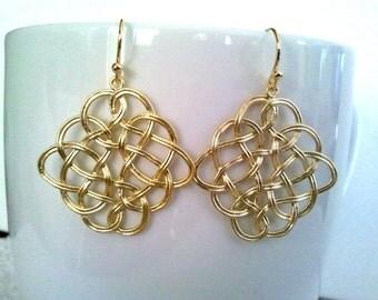 Celtic Pendant Drop Earrings, Dangle, Earrings,bridesmaid gifts,Wedding jewelry, Gift