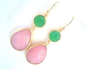 Green Jade and Pink Wedding earrings, Drop, bridesmaid gifts, Gemstone,Wedding jewelry,Dangle,gift for her, mom gift, easter earrigs