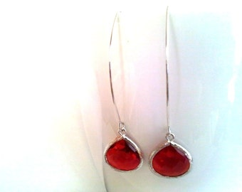 Red Ruby Earrings - July Birthstone-Red Stone Linear Dangle Earrings Drop, bridesmaid gifts,Wedding jewelry-  Drop, Dangle, christmas gift