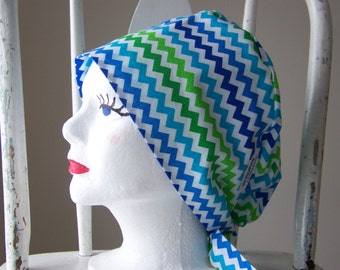 Chevron Scrub Hat Tie Back Pixie Style