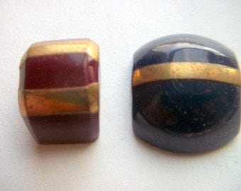 Blue and Red Plastic Cabochons with Gold Metal Strip # B 16
