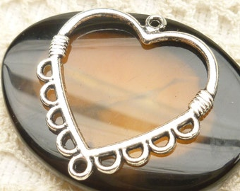 Antiqued Silver Fancy Heart Chandelier Connector Charm Pendant Finding (6) - SF81