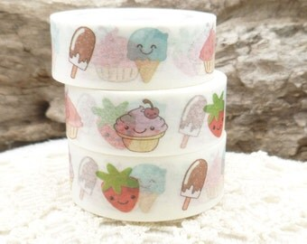 Cupcakes, Popsicles, Strawberry, Ice Cream  Washi Tape - M570