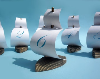 set of 6 sailing boat table number holder, sailing boat place card