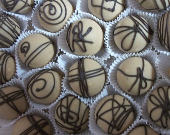 Peanut Butter Dark Chocolate Truffle cake balls 12  Decadent Chocolate truffle balls Wedding Favor