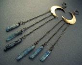 Crescent Moon Earrings / Blue Kyanite Crystal Earrings / Raw Crystal Moon Earrings / Crystal Chandelier Earrings / Crescent Moon Jewelry
