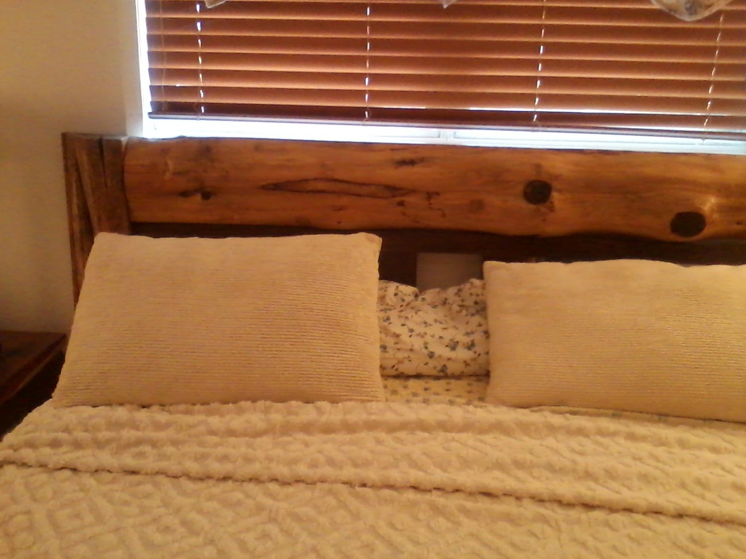 cedar wood headboard and footboard