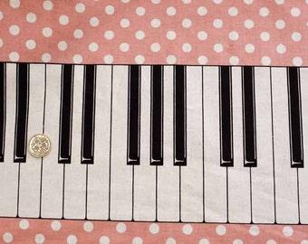 Piano Print Japanese Fabric Pink / 110cm x 50cm