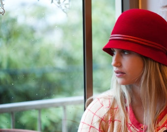 Red Cloche Hat For Women