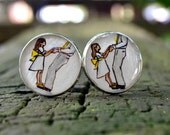 father of the bride cuff links,  first father daughter dance hand painted personalized