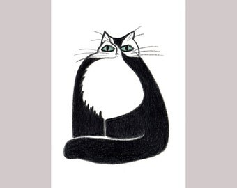 Cat Cards - Black and White Funny Cat Gift Cards