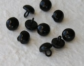 10 Vintage black shoe boot buttons 9mm with metal shank.