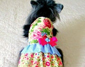 Romantic Small Dog Dress Cotton - Pink, Leaf Green, Blue and Cream Rose Print w/Blue & White Gingham Ruffle and Bow, Custom Orders