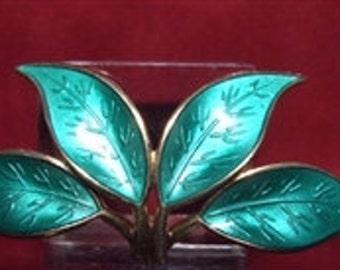 Vintage David Andersen Green Leaf Enamel Brooch Pin