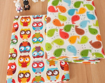 Colorful Birds Owls Fabric, Owl Bird bear Elephant Cotton Fabric, Baby Kids Quilting Fabric - 1/2 yard