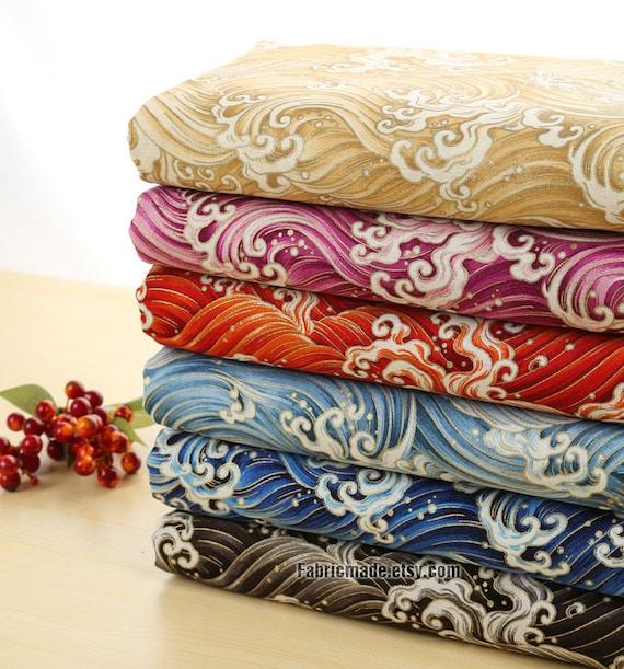 Fat Quarter Bundle Japanese Fabric Bundle Shabby Chic Fabric Bundle Bright Waves Cotton Fabric Bundle- sets for 5