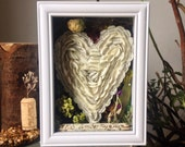 First Anniversary Gift - 1st Anniversary Gift - Paper Heart -Moss Terrarium - Home Decor - Shadow Box Art