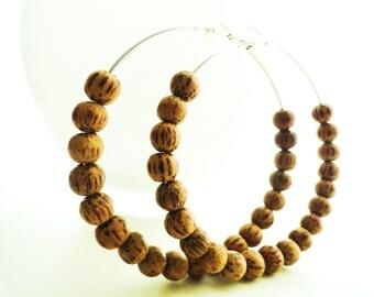 Silver Coconut Shell Beaded Hoop Earrings