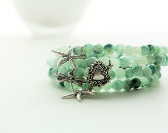 Four Beaded Green Tree Agate Gemstone Charm Stacks Bracelets