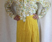 Flower Power Fall Blouse // Yellow Floral Button Down Blouse // HALLOWEEN SALE // Mustard Yellow Floral Tie Top