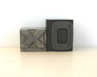 Vintage Metal Letterpress Block Collection, Collectible, Home Decor, XO, Stamping, Collage, Name Initials, XO