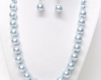 Light Blue Glass Pearl with Silver Findings Necklace & Earrings Set