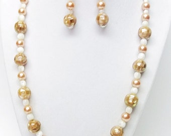 Golden Mosaic Shell Bead Necklace & Earrings Set