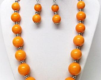 Round Orange Graduated Acrylic Bead Necklace Earrings Set