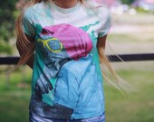 Acid Washed Light Green T-shirt Top Monkey in Glasses and Beanie