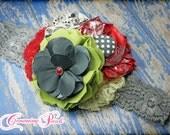 Giggle Moon Hair Bow, Red, Grey, Lime, Holiday Hair Piece, Dance for Joy, Christmas Headband, Fabric Flower Headband, Hair Accessory, Clip