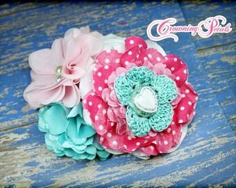 Pink, Aqua Headband, Turquoise Flower Headband, Baby Pink Hairbow, Hair Accessories, Flower Hair Clip, Fabric Flower Headband, Baby Hairbow