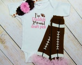 Football Pink Baby Girl Bodysuit or Gown Headband Leg Warmers Options New Mom Dad Gift Newborn Outfit I'm Dad's Draft Pick Football Girl