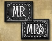 PRINTED MR & MRS chair signs for your wedding - chalkboard signage - with optional add ons