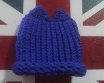 0-3 Month Old Blue Cat Ear Hat