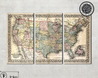 """Vintage wall map of United States tryptich canvas art , ready to hang 47"""" x 30"""", 042"""